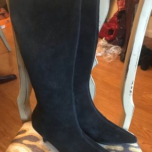 Shoes - New Bijou Black Leather Suede Boots 8.5